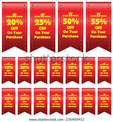 Vector  Discount red price tags from 10 to 95 percent in isolated white background. - stock vector