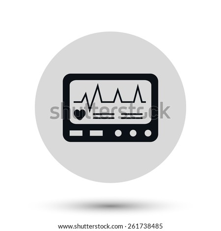 Vector Display with Cardiogram Icon - stock vector