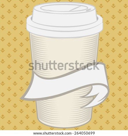 Vector dispossable coffee cup illustration  - stock vector