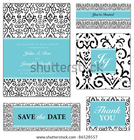 Vector Distressed Floral Wedding Frame Set. Easy to edit. Perfect for invitations or announcements. - stock vector