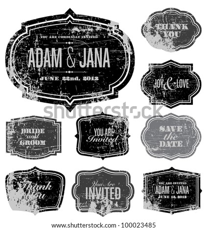 Vector Distressed Frame Set. Easy to edit. Perfect for invitations or announcements. - stock vector