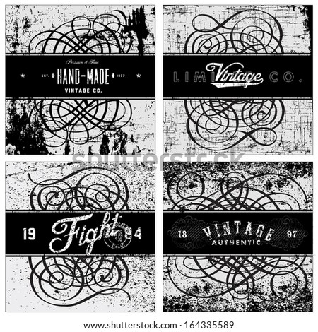 Vector distressed grunge texture and pattern with vintage frames and text. Great for any grunge design. Simply place over any object to create grunge effect.  - stock vector