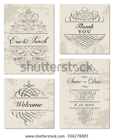 Vector Distressed Ornament and Frame Set. Easy to edit, all ornaments are separated. Perfect for invitations or announcements. - stock vector