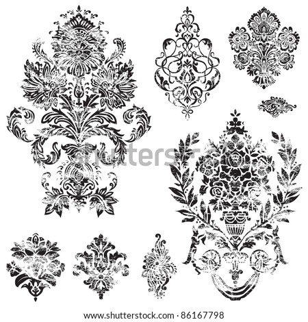 Vector Distressed Ornament Set. Distressed overlay is separated, and easy to edit. Perfect for invitations or announcements. - stock vector