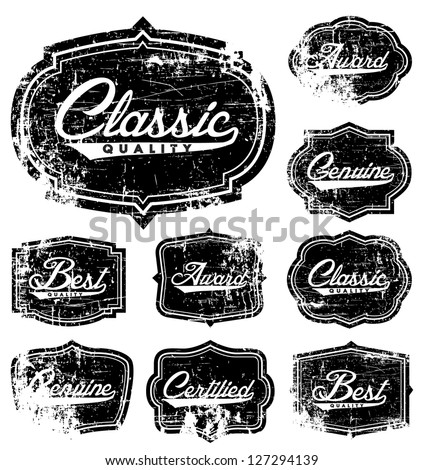 Vector Distressed Retro Label Set. Easy to edit. All layers are separated. - stock vector