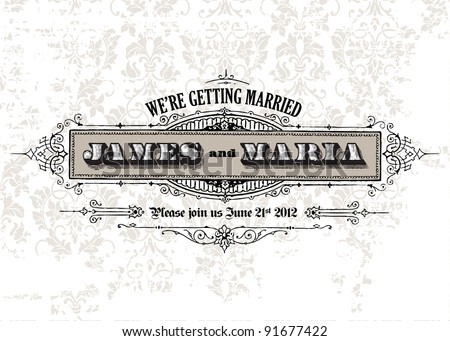 Vector Distressed Vintage Frame and . Easy to edit. Perfect for invitations or announcements. Ornaments - stock vector