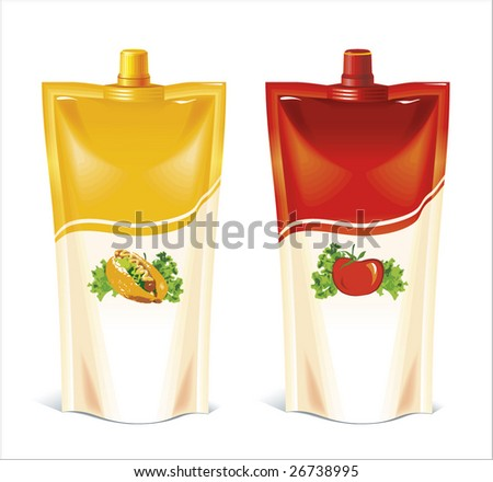 Vector. Diverse packages with sauce - stock vector