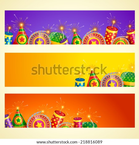 Vector diwali banner with crackers - stock vector