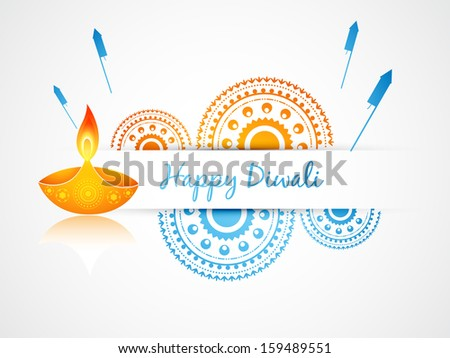 vector diwali greeting design art - stock vector