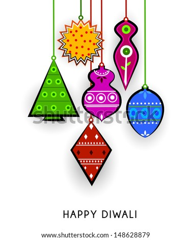 Vector Diwali Lamp with lighting - stock vector