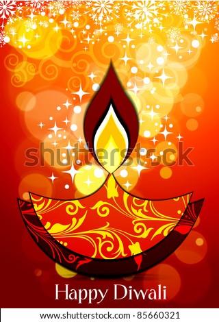 Vector Diwali Lamp with lighting - stock vector