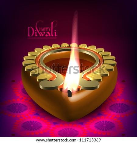 Vector Diwali Oil Lamp - stock vector