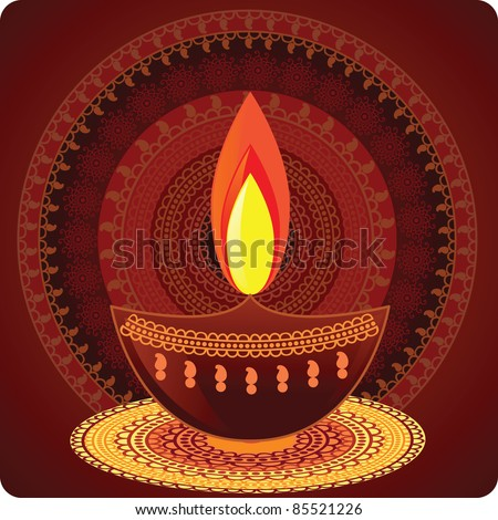 Vector Diwali Oil Lamp with Mandala Design - Very Detailed and easily editable - stock vector