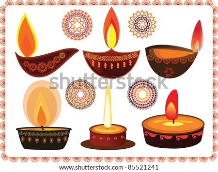 Vector Diwali Oil Lamps with Mandala Design - Very Detailed and easily editable - stock vector