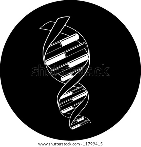 Vector DNA icon. Black and white. Simply change. In my portfolio there is version 4 in 1.
