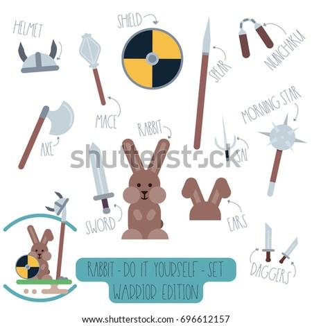 Vector do yourself set rabbit weapons stock vector 696612157 vector do it yourself set with rabbit and weapons make your own cartoon flat illustration solutioingenieria Gallery