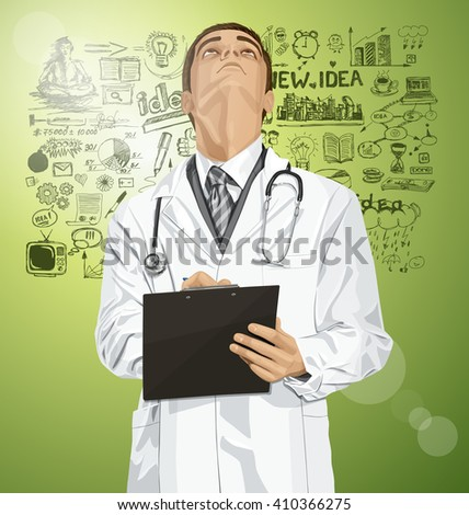 Vector doctor man writing something, looking up, looking for idea,  - stock vector