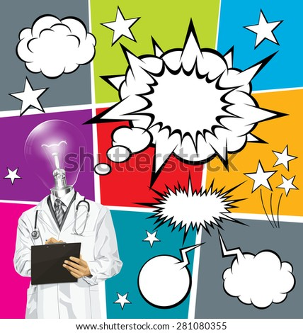 Vector doctor man writing something with marker on clipboard, with speech and thought bubbles - stock vector