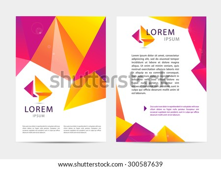 Vector document, letter or logo style cover brochure and letterhead template design mockup set for business presentations- multicolored geometrical shapes pattern. Flyer, modern faceted design - stock vector