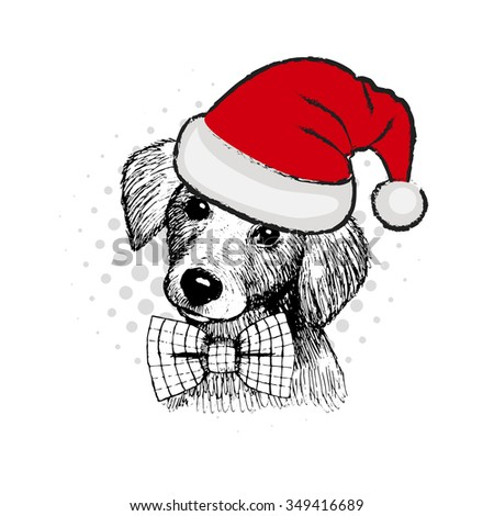 Vector dog. Dog Santa in red hat with bow. - stock vector