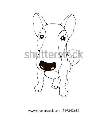 Vector dog isolated on white.Cute illustration of domestic pet. - stock vector