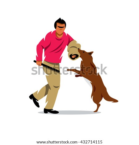 Vector Dog training Cartoon Illustration. The man with stick plays with a dog. Branding Identity Corporate unusual Logo isolated on a white background