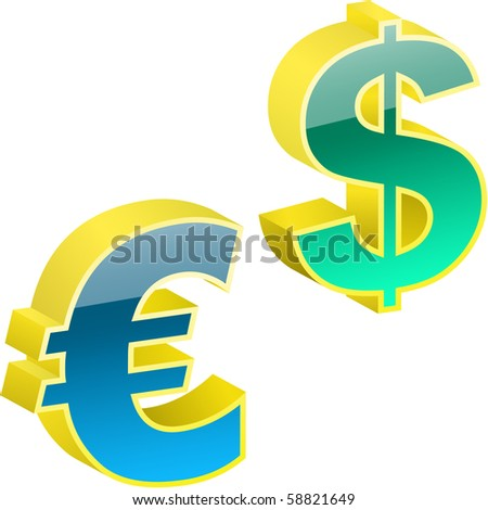 Vector dollar and euro signs.