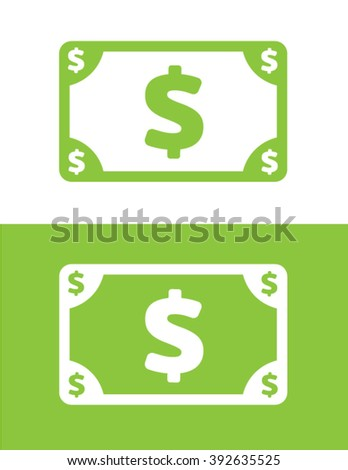 Vector dollar bill graphic in colour and reverse - stock vector