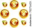 Vector dollar, euro, yen and pound icons. - stock vector