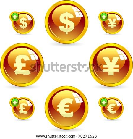 Vector dollar, euro, yen and pound icons. - stock vector