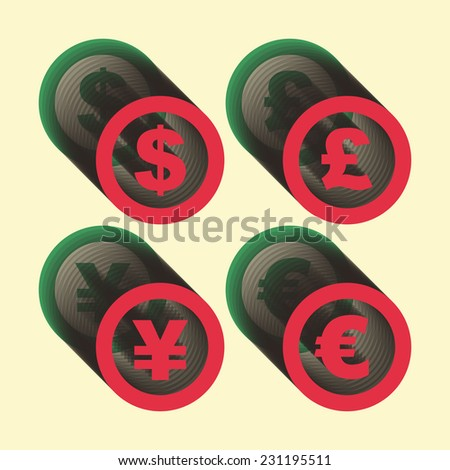 Vector dollar, euro, yen and pound icons. Signs set. Vector illustration.  - stock vector