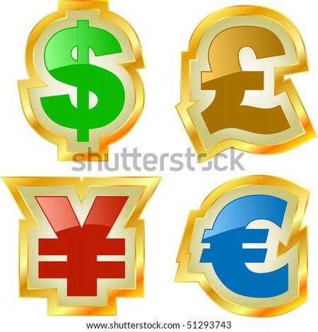 Vector dollar, euro, yen and pound signs. - stock vector