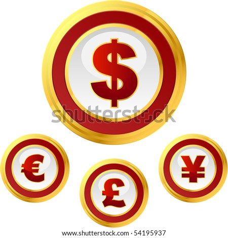 Vector dollar, euro, yen and pound signs. Button set. - stock vector