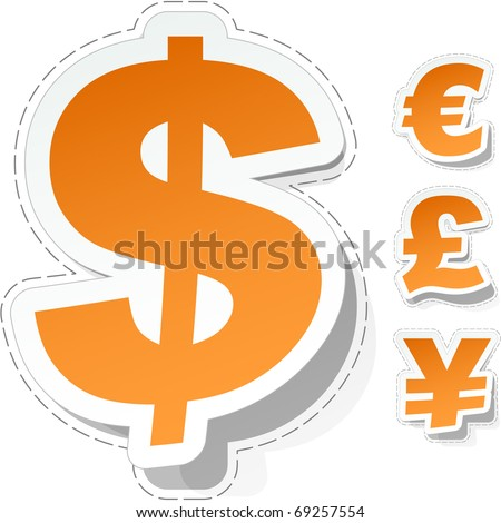 Vector dollar, euro, yen and pound stickers. - stock vector