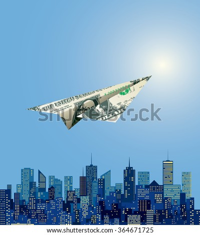 vector dollar paper plane flying over abstract Manhattan - stock vector