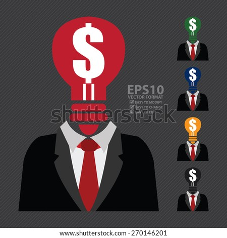 Vector : Dollar Sign Light Bulb Head Businessman Isolated on White Background - stock vector