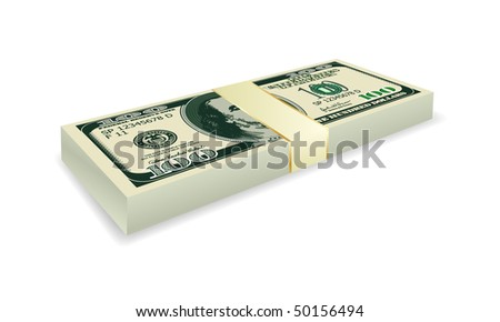 vector 100 dollar stack - stock vector