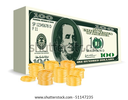 vector 100 dollars bill with golden coins - stock vector