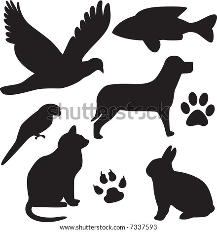 vector domestic pets silhouettes - stock vector