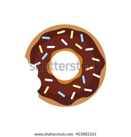 Vector donut icon. Sugar donut illustration. Caramel donut sign. Donut with topping. Donut for bakery menu. Cafe donut. Glazed cool donut.  - stock vector