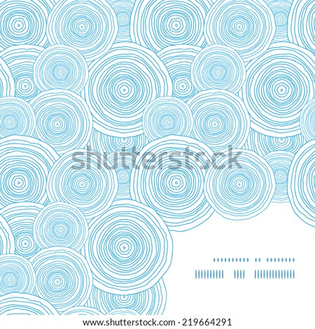 Vector doodle circle water texture frame corner pattern background - stock vector