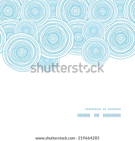 Vector doodle circle water texture horizontal frame seamless pattern background - stock vector