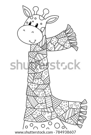 Vector Doodle Coloring Book Page Cute Giraffe Dressed In The Scarf Anti Stress For