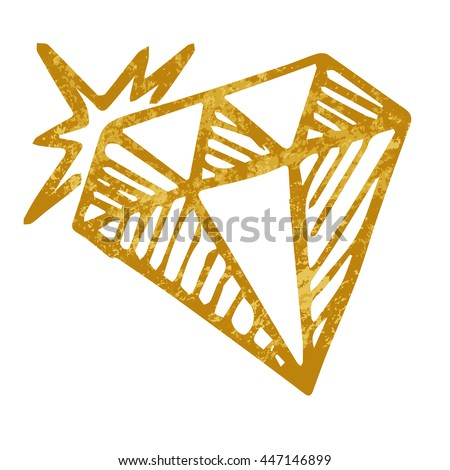 Vector doodle diamond isolated on white background, one hand drawn gold diamond, design for greeting card, poster, banner, printing, mailing
