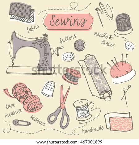 Vector doodle drawing of sewing and needlework icons
