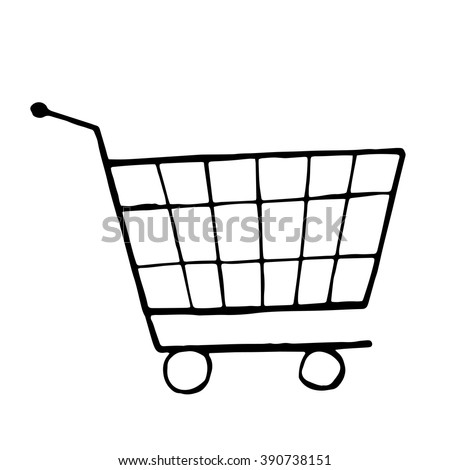 Vector doodle drawing of shopping trolley, isolated