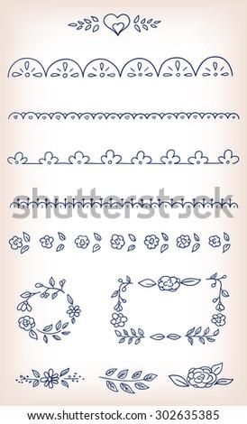 Vector doodle elements design set - stock vector