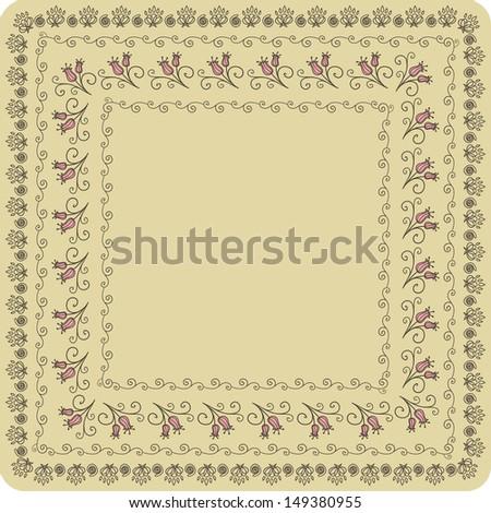 Vector doodle floral decorative frame - stock vector