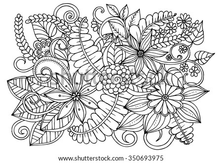 Vector doodle flowers in black and white for coloring pages - stock vector
