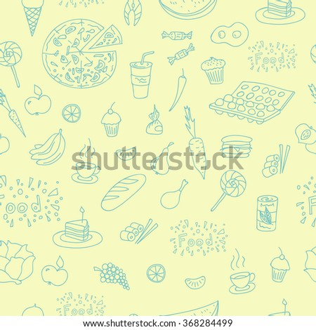 Vector doodle food elements pattern. Doodle pattern with cooking elements hand drawn for web design, textile design, wallpapers and backgrounds.